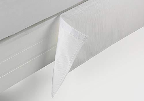 ESTELA - Cubrecanapé Hilo Tintado RÚSTICO Color Blanco óptico - Cama de 90 cm. - Cierre con Velcro - 50% algodón / 50% poliéster - Medidas: 90 x 190/200 + 35 cm.