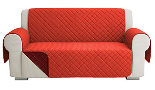 Fundas para Sofa Acolchado, Funda De Sofas 2 Plazas (120 CM), Cubre Sofa Reversible Bicolor, Rojo / Naranja