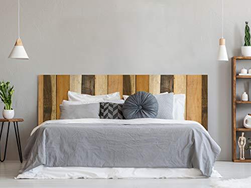 Cabecero Cama PVC Textura Antiguo Recto Vertical Madera Multicolor 150x60cm | Disponible en Varias Medidas | Cabecero Ligero, Elegante, Resistente y Económico