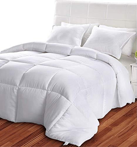 Utopia Bedding- Edredón de Fibra 200x200 cm - Primavera-Verano - Fibra Hueca Siliconada, 800 gramo - Blanco (Cama 105)