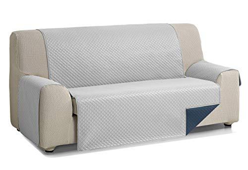 Martina Home Diamond Cubre Sofa Acolchado Reversible, Gris/Azul, 4 Plazas
