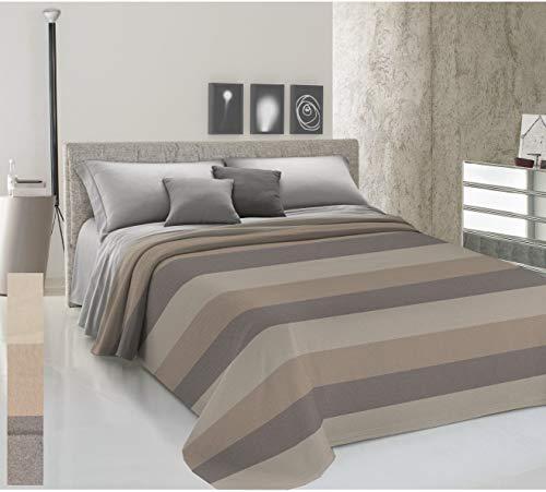 HomeLife Colcha de una plaza y media para primavera y verano, hilo teñido, 220 x 290 cm, fabricada en Italia, colcha de cama a rayas anchas de algodón | Colcha de 1 plaza y media | 1,5 P, beige