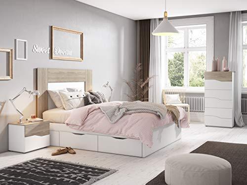 Miroytengo Habitación Matrimonio Completo Dormitorio Color Blanco Mate y Sable Moderno (cabecero + 2 mesitas + cómoda)