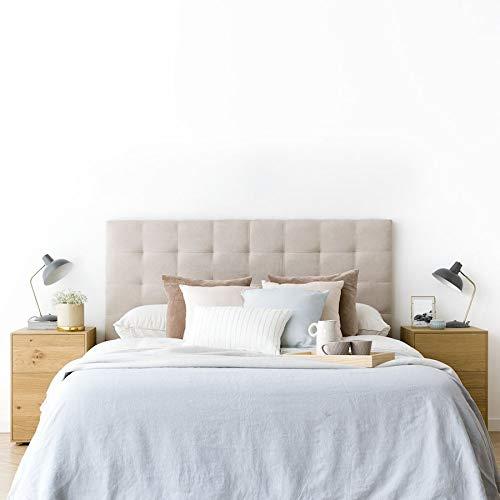 Kenay Home - All Cabecero Tapizado para Cama de 150: 160x120cm (AnchoxAlto) Nido Crema 5 Incluye Anclajes