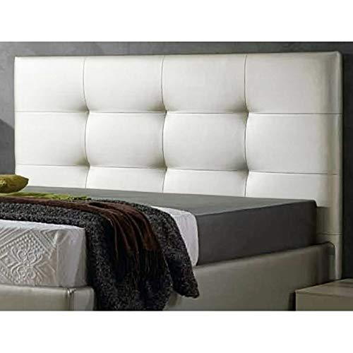 ED Cabecero Cama tapizado Polipiel Mod. Texas Todas Las Medidas y Colores (Blanco, 105 * 70)
