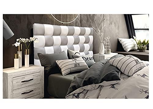 ONEK-DECCO Cabecero de Cama, tapizado en Polipiel Mod. Kansas Patchwork 2 Colores Blanco-Plata para Cama de niño, Juvenil y Matrimonio (Blanco-Plata, 135X70)