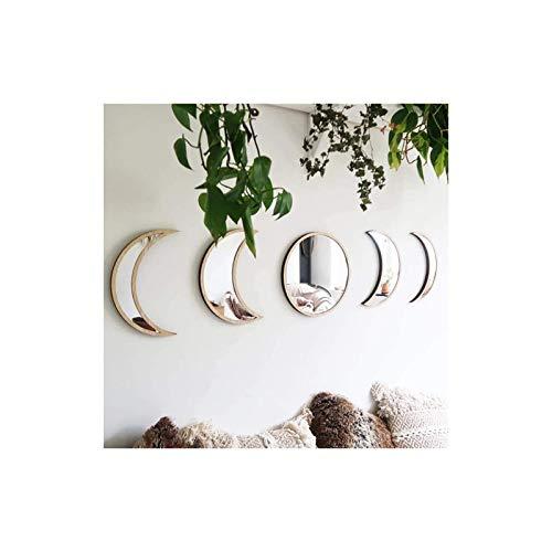 Delaspe Moonphase - Espejo decorativo (5 unidades, acrílico, diseño de interiores, madera, bohemia)