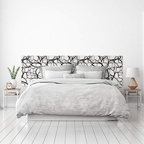 MEGADECOR Cabecero Cama PVC Decorativo Económico Diseño Moderno Suave Patrón Orgánico Fibras Blanco y Negro Varias Medidas (200 cm x 60 cm)