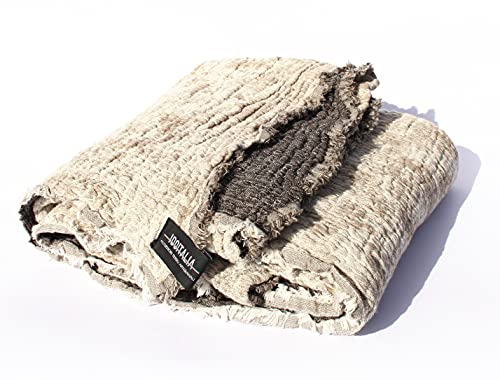 Blanket / Plaid / Foulard Arredo Sofá Modelo Lampedusa de puro algodón Jaquard (crema arena)