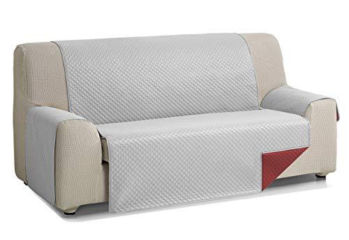 Martina Home Diamond Cubre Sofa Acolchado Reversible, Gris - Rojo, 3 Plazas