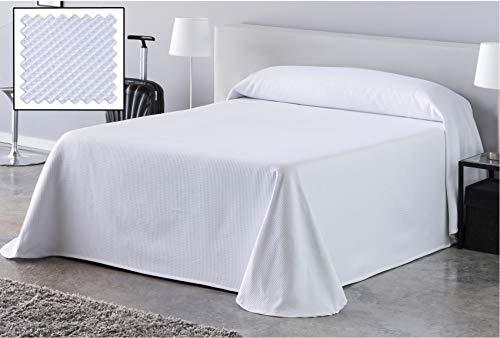 DHestia Hostelería - Colcha de Cama Blanca Hotel Tejido Colmena Nido de Abeja. (190x270 cm - Cama 90/105)