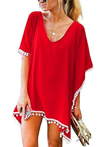 Tuopuda Camisolas Playa Mujer Trajes de Baño Encubrimientos Bikini de Playa Borla Traje de Baño Cover Up (Rojo)