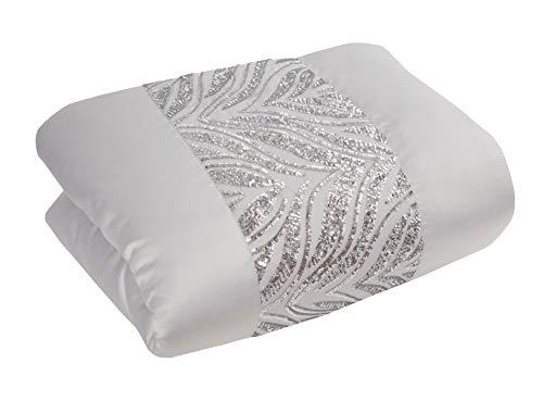 Sleepdown Colcha de Lujo con Lentejuelas, Color Gris Plateado, con Banda de Panel de Lujo, para sofá Cama, súper Suave, cálida, Manta Grande, 150 cm x 200 cm