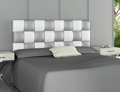 HOGAR24.es - Cabecero tapizado Polipiel Patchwork Blanco y Plata. 160 cm x 60 cm x 3 cm