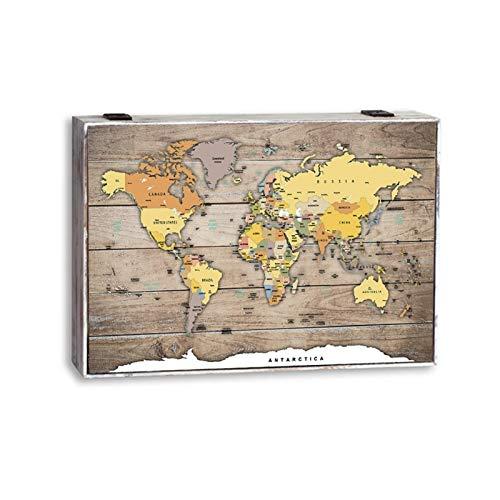 D,casa - Tapa de Contador Efecto Madera Mapa del Mundo