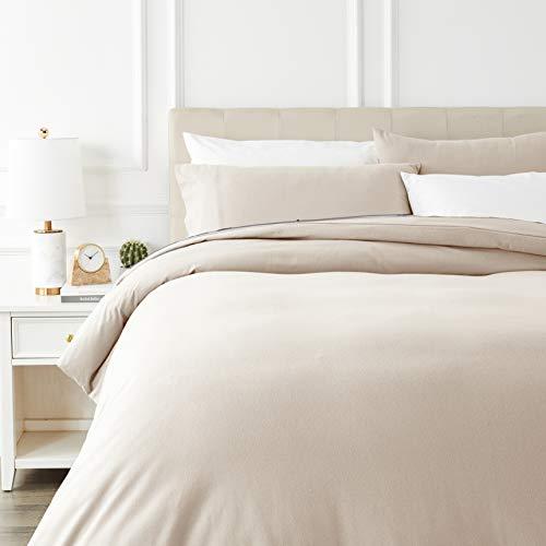 Amazon Basics - Juego de cama de franela con funda nórdica - 230 x 220 cm/50 x 80 cm x 2, Beige
