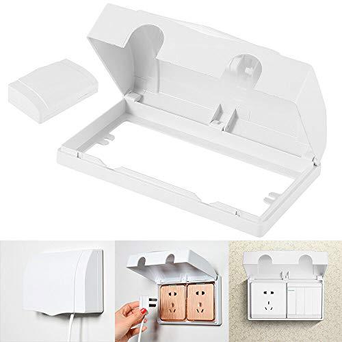 Protector de enchufe doble, cubierta de seguridad para niño, bebé, caja para toma de corriente, electricidad, para el hogar, color blanco