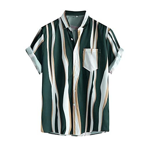 Camisa para hombre de manga corta, informal, con estampado de acuarela, de manga corta, para verano, ajustada, con botones impresos, para verano, informal, de talla corta G_verde. M