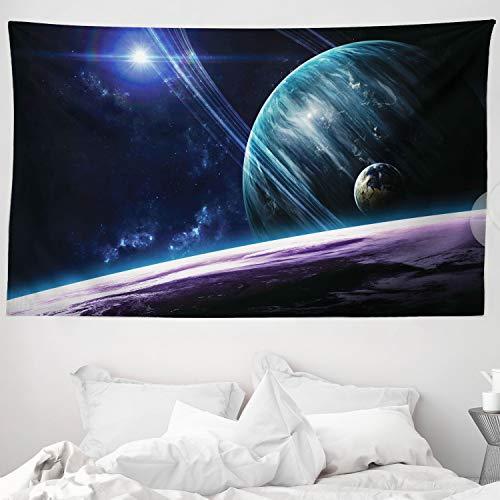 ABAKUHAUS Espacio Tapiz de Pared y Cubrecama Suave, Universo con Planetas, Lavable Colores No Destiñen, 230 x 140 cm, Azul Púrpura