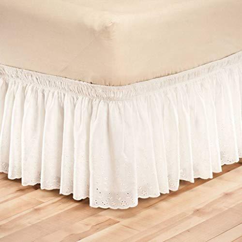 QUNCUNG Encaje Falda de Cama,Volantes elástica Falda de Cama Bedding Ruffled Bedskirt Medidas canapé Cubre unda de somier Faldón de Volantes con banda-Blanco-COMPLETO120*200Cm