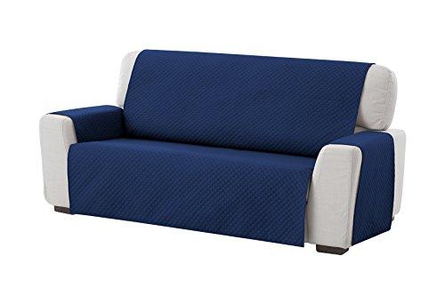 Textilhome - Funda Cubre Sofá Adele, 4 Plazas, Protector para Sofás Acolchado Reversible. Color Azul