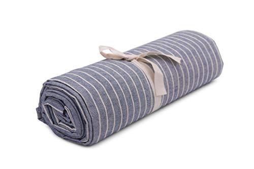 HomeLife – Foulard Multiusos – Tela Decorativa Cubre sofá con diseño de Rayas, 260x280, fabricación Italiana – Granfoulard de algodón – Cubrecama Doble (Cama de Matrimonio) – Azul