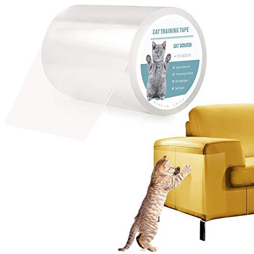 Pidsen Protector de Muebles Gatos, 15X300 CM Nano Cinta Adhesiva Anti Arañazos para Gatos,Transparente Autoadhesivas de Gato Protector para Gatos y Perro,Protector de sofá para Detener