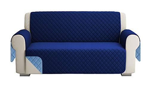 Fundas para Sofa Acolchado, Funda De Sofas 3 Plazas (170 CM), Cubre Sofa Reversible Bicolor, BLU / Azúl