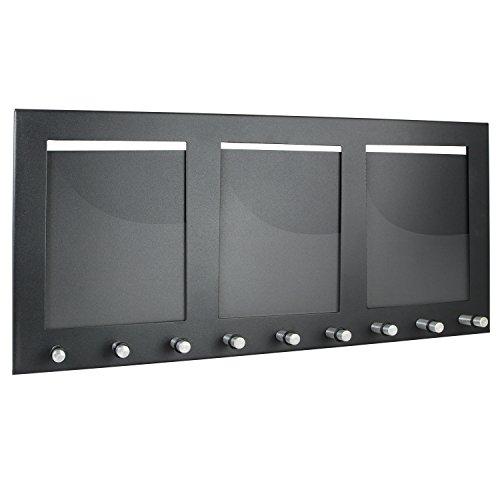 HMF 10850-02 Tabla para Colgar Llaves con 3 portafotos, Caja de Llaves, 9 Ganchos, 44 x 20 x 4,3 cm, Negro