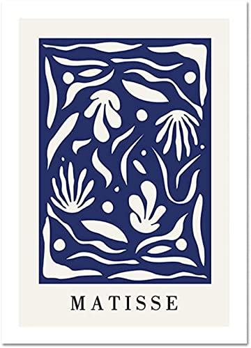 Matisse Cartel Nordic Poster Línea de planta Minimalista Pintura Mural Art Abstract Silhouette Sueños azules Matisse Lienzo Mesa Imagen de arte para decoración de interiores-40x60cm sin marco