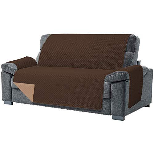 Domum - Funda para Sofa de 4 Plazas y Sillón Reclinable | Fabricado en España | Color Marrón | Cubre Sofá Reversible y Acolchado | Protege del Desgaste Diario y del Paso de Mascotas