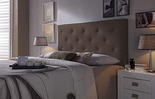 Cabezal tapizado Rombo 160X115 Chocolate, Acolchado con Espuma, 8 cm de Grosor, Incluye herrajes para Colgar