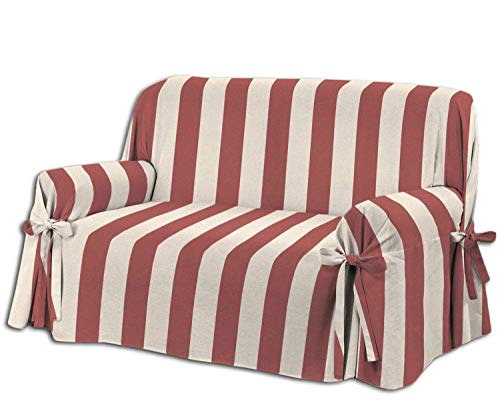 Home Life – Cubre sofá de 2 plazas – Elegante Protector de sofás a Rayas – Funda de sofá de algodón para Proteger del Polvo, Las Manchas y el Desgaste, Fabricado en Italia – Beige/Rojo