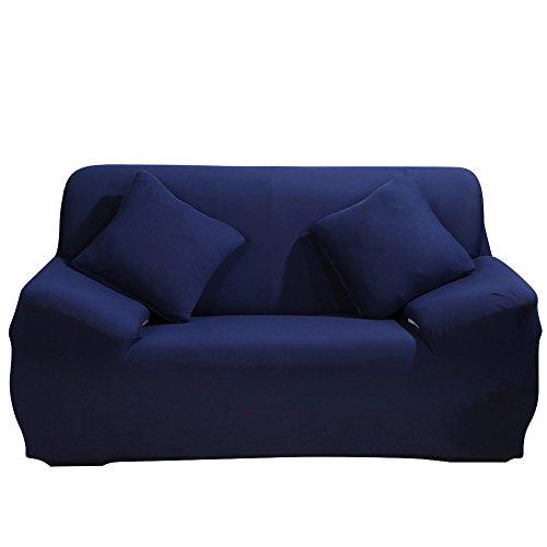 SHANNA - Funda elástica para sillones y sofás de 1, 2, 3 o 4plazas, cubierta antideslizante en tejido elástico extensible, protector, tela, azul, 2-Seater Chair + 1pcs Free Pillowcase