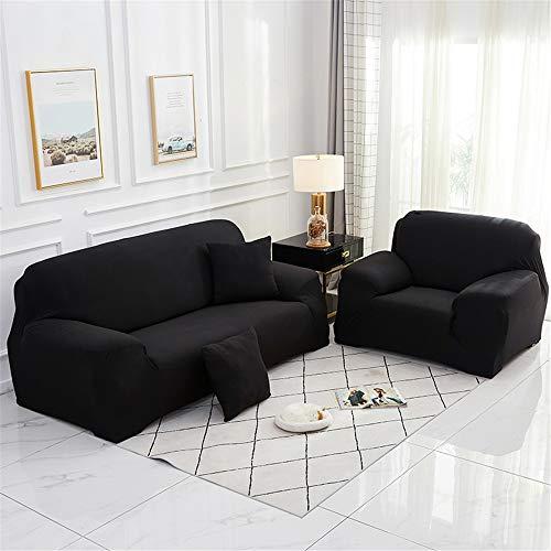 Surwin Funda de Sofá Elástica para Sofá de 1 2 3 4 plazas, Impresión Universal Cubierta de Sofá Cubre Moda Sofá Antideslizante Sofa Couch Cover Protector (Negro,1 Plaza - 90-140cm)