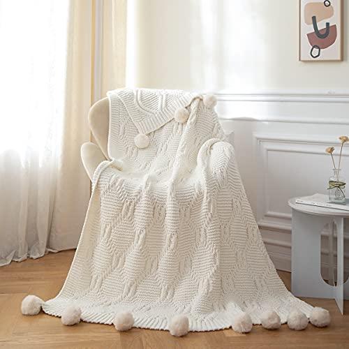 MYLUNE HOME Tejer Elegante Manta de Punto Cobertura para Ver la Televisión en la Silleta, Sofá y Cama, Las Dos Caras Cubiertas 130 * 160cm (white1)