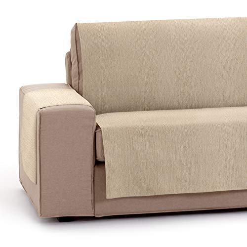 Vipalia Protector Funda para Sofa Ajustable. Cubresofas adaptables. Funda Sofa 3 plazas Antimanchas Chenilla Lisa. Color Beige. Cubre Sofa 3 plazas (155 cm)