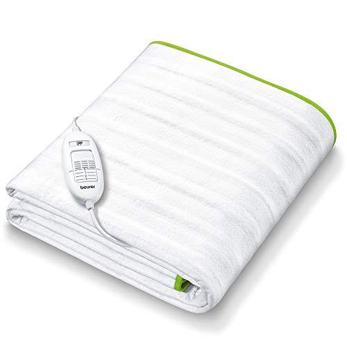 Beurer TS 15 - Calientacamas individual con tiras de sujeción, transpirable, tacto suave, lavable, 3 potencias, display iluminado, cama individual, 80 x 150 cm, blanco