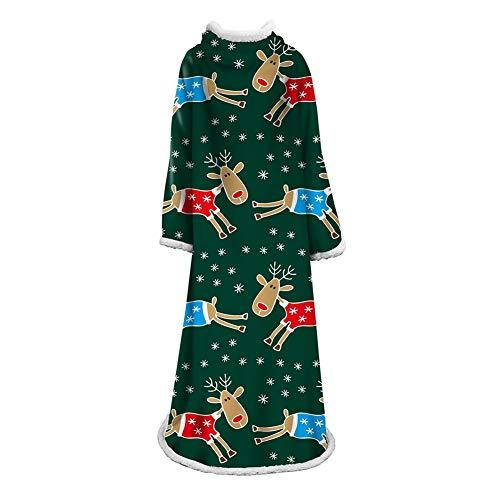 OUPAI Mantas Manta de Navidad Sherpa, Manta Fleece Deluxe con mangas for los adultos, varones y mujeres, elegante, acogedor, cálido, Extra suave, felpa, funcional, ligero Throw manta usable acampar...