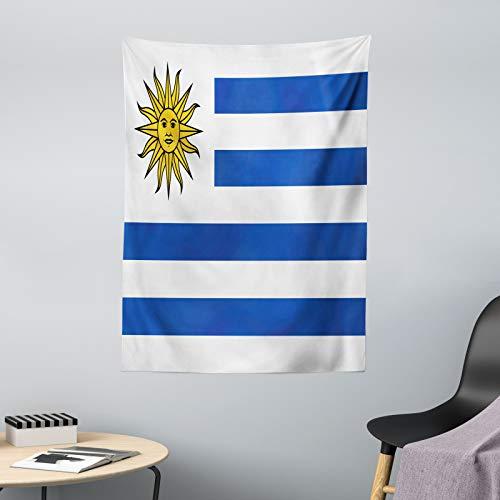 ABAKUHAUS Uruguay Tapiz de Pared y Cubrecama Suave, Rayas Simples y Bandera del Sol, Fácil de Lavar No Destiñe, 110 x 150 cm, Cobalto Azul Blanco