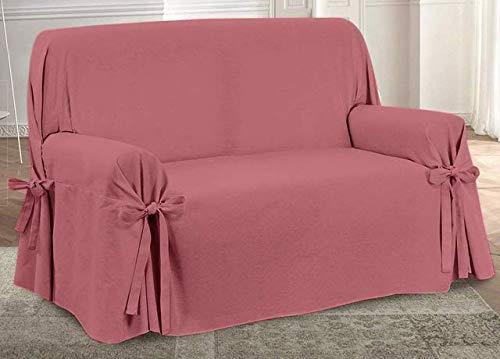 HomeLife – Cubre sofá de 2 plazas – Elegante Protector de sofás Liso – Funda de sofá de algodón para Proteger del Polvo, Las Manchas y el Desgaste, Fabricado en Italia – Rojo
