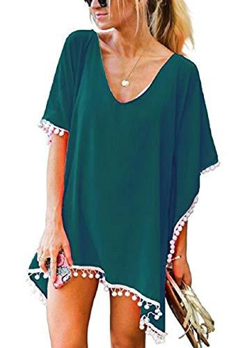 Tuopuda Camisolas Playa Mujer Trajes de Baño Encubrimientos Bikini de Playa Borla Traje de Baño Cover Up (Verde Oscuro)