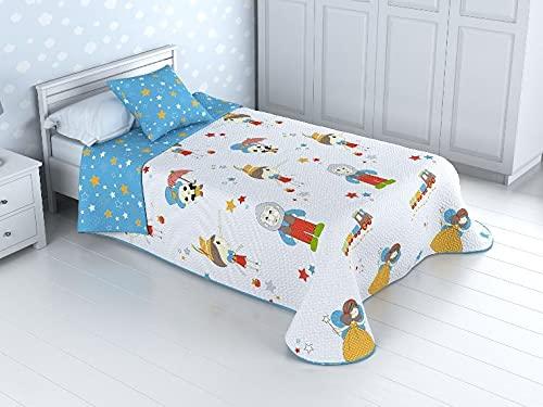 HM'S HOME'SECRET Colcha bouti Basic Infantil Reversible con Acolchado termosellado Pinocho (Cama 90)