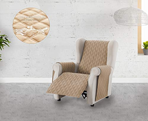 Textilhome - Funda Cubre Sofá Circus -1 Plaza - Relax - Protector para Sofás Acolchado Color Beige