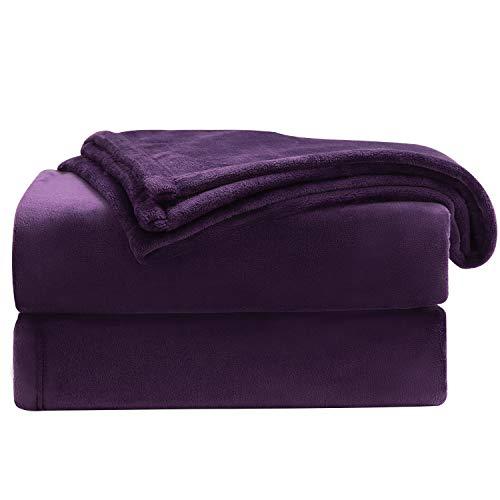 Bedsure Manta Sofa Grande Invierno - Manta Cama 90 de Franela Extra Suave, Mantas 150x200 cm Cubre Sofas, Violeta