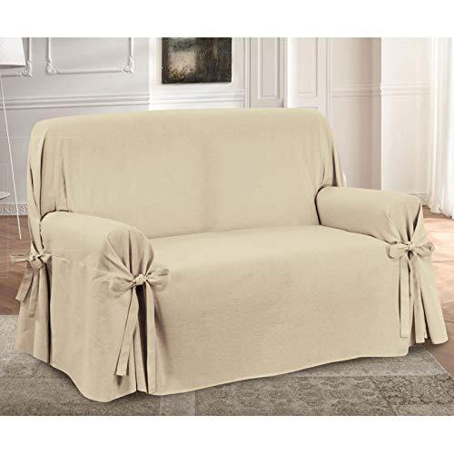 HomeLife – Cubre sillón – Elegante Protector de sofás con Lazos – Funda de sofá de algodón para Proteger del Polvo, Las Manchas y el Desgaste, Fabricado en Italia – Beige