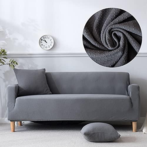 Funda de Sofa Impermeable, Protector de Sofa, Fundas Mascota, Cubre Sofa Antideslizante, Funda de Sofa elástica (Gris 4 plazas 235-300cm)