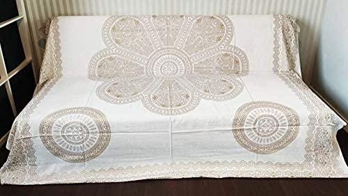Goods4good Decoración con Diseño de Mandala Elefantes Ideal Cubre Sofa Colcha Cama Pareo Playa Picnic Familiar Grande 210x240cm 100% Algodón (Dorado y Beige)