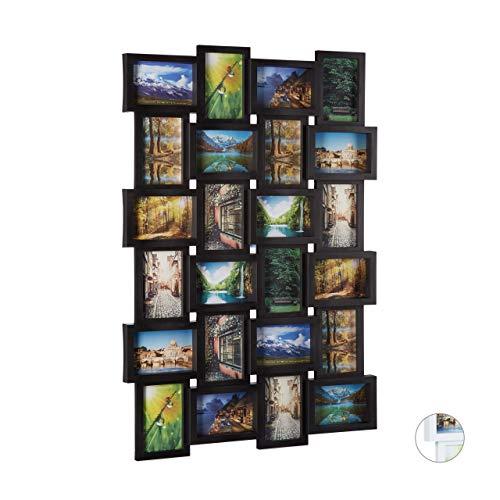 Marco para 24fotos Relaxdays, marco de fotos para colgar, foto collage para diseñar, Medidas:59alto x 86ancho x 2.5 cm profundidad, color negro