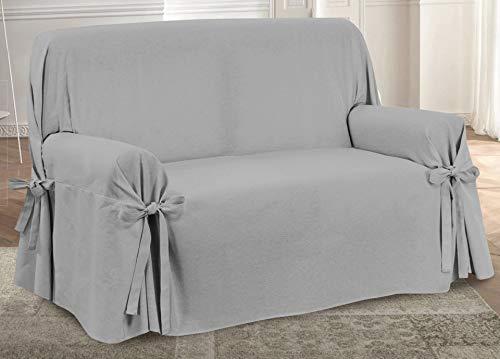 HomeLife – Cubre sofá de 3 plazas – Elegante Protector de sofás Liso – Funda de sofá de algodón para Proteger del Polvo, Las Manchas y el Desgaste, Fabricado en Italia – Gris